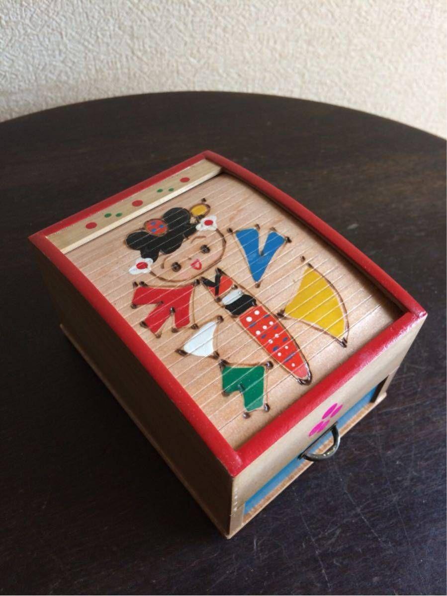 《真》昭和レトロ お土産 からくり箱 可愛いこけし柄 美品 Jauce Shopping Service