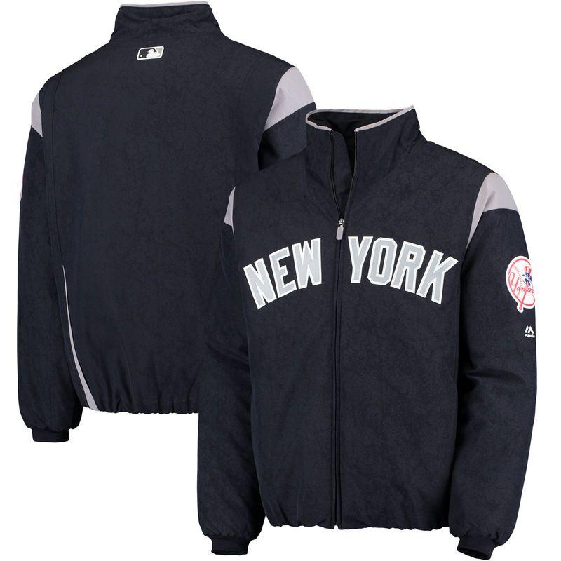 New York Yankees Majestic On Field Therma Base Thermal Full Zip Jacket Navy Gray New York Yankees Zip Jackets Yankees