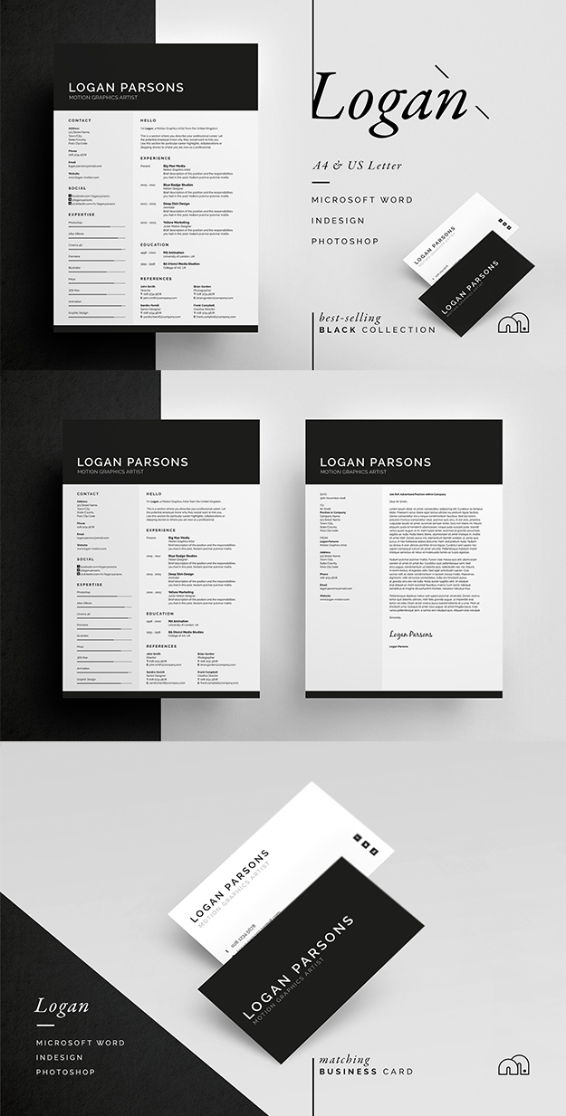 professional  minimal resume  cv   cover letter template with free matching business card   resume