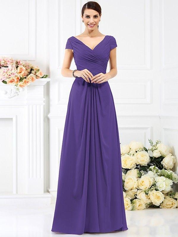 A-Line/Princess V-neck Pleats Short Sleeves Long Chiffon Bridesmaid ...