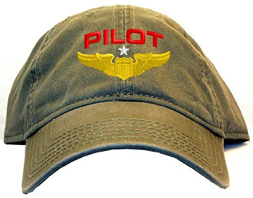 Spiffy Custom Gifts Pilot with Wings Low Profile Baseball Cap Olive --  Check out this great product. 2a92c6dc4187