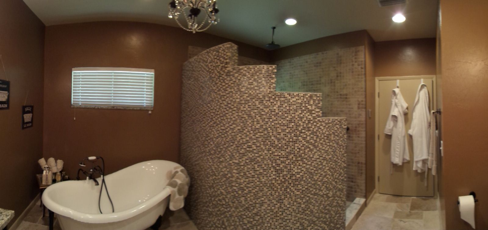 Curved Shower Wall With Glass And Stone Mosaic Tile