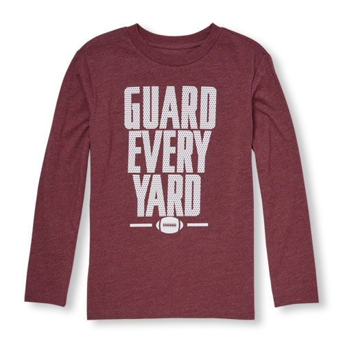 s Boys Long Sleeve 'Guard Every Yard' Football Graphic Tee - Red T-Shirt - The Children's Place