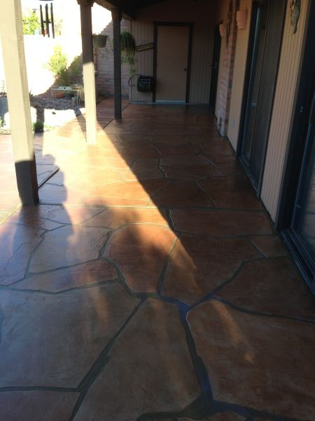 Repair Of Existing Flagstone Concrete Overlay On Patio Including Recoloring  And Resealing In Tucson, AZ