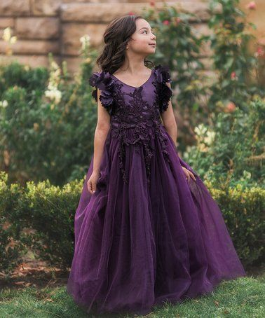 6b548427f Look what I found on  zulily! Dark Purple Ruffle-Sleeve Ariana Dress ...