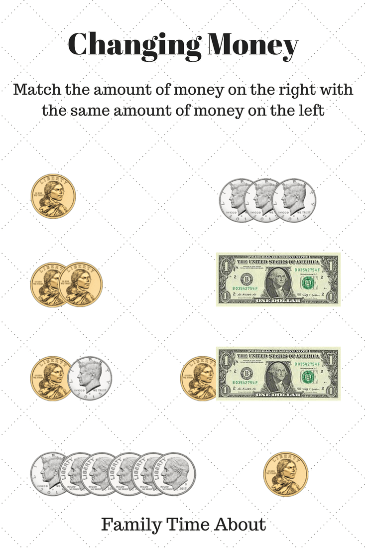 The Concept Of Money – FREE Worksheet For Changing Money – US$ Coins