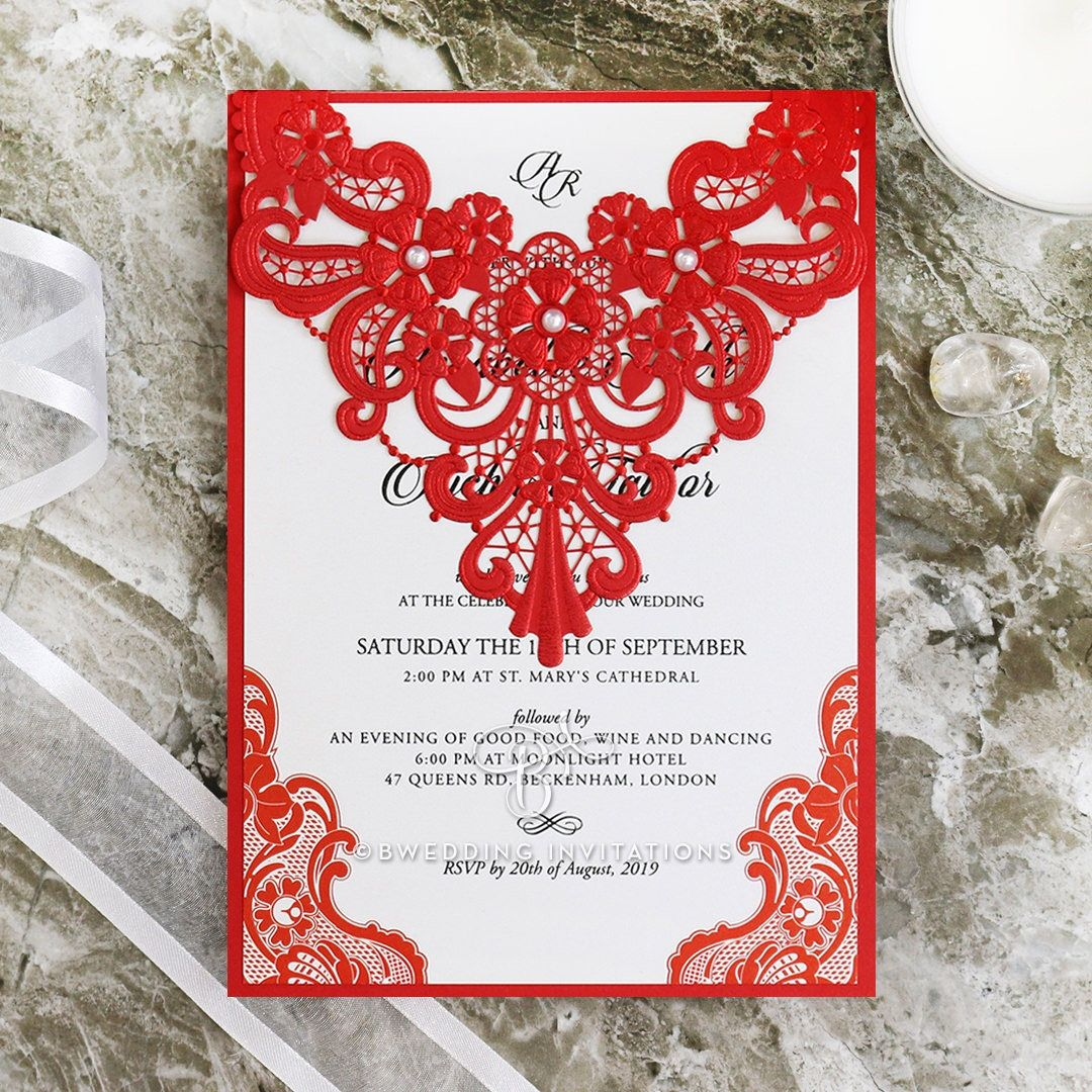 Red Laser Cut Wedding Invitation - Lace with Pearl Embellishments ...