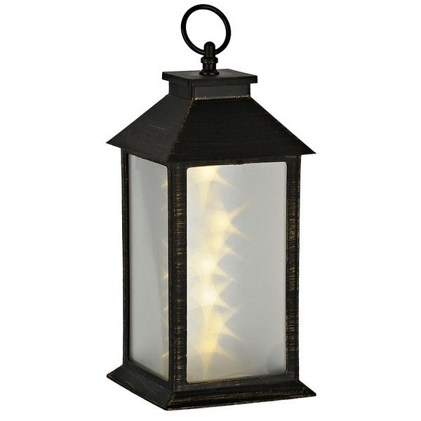 Pre Lit Bronze And Brushed Gold Tabletop Lantern 12 Liked On Polyvore Featuring Home H Battery Powered Lanterns Battery Operated Lanterns Battery Lantern
