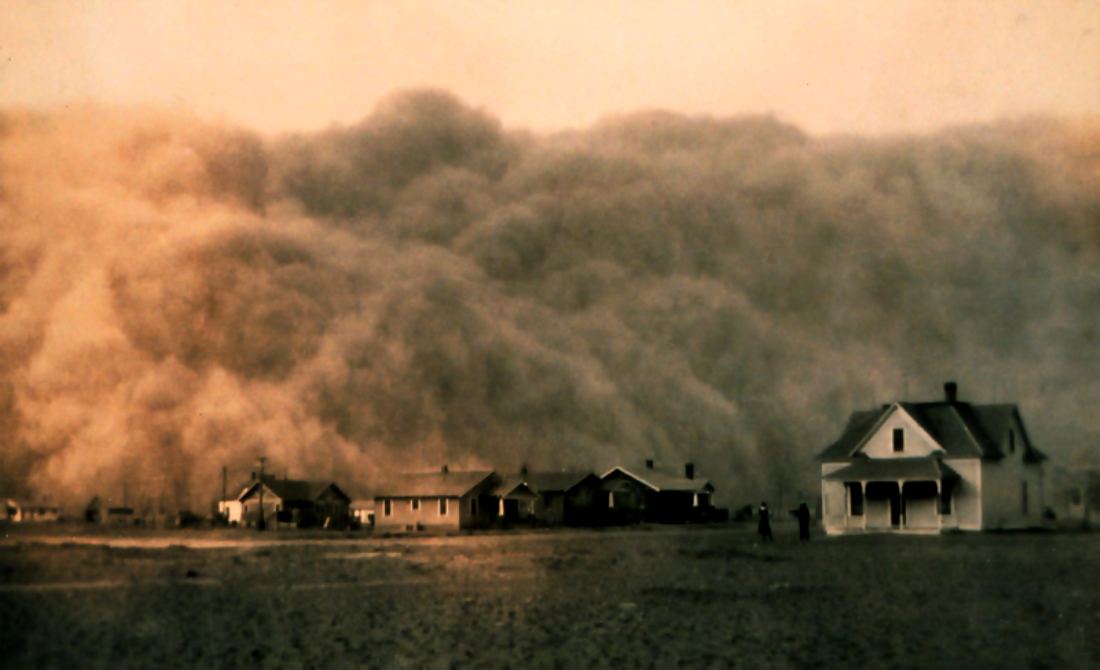 z- Dust Bowl Storm Approaches Stratford, Texas, 1935