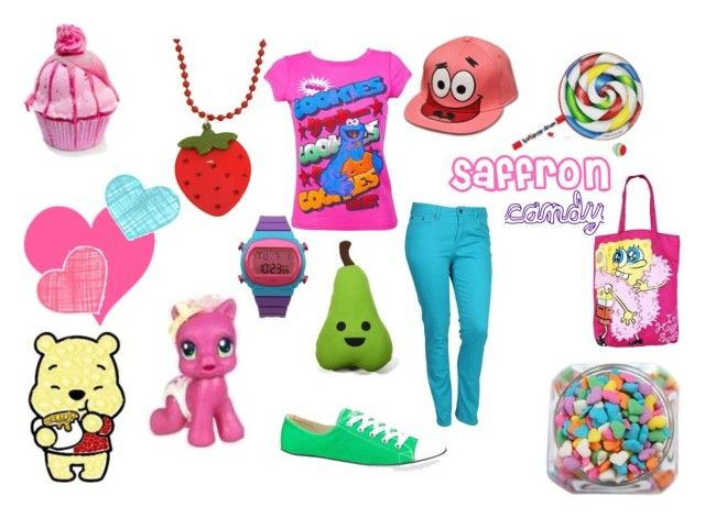 """For @SaffronCandy [themed outfit]"" by hespah ❤ liked on Polyvore featuring Famous Forever, adidas, Forever 21, Converse, My Little Pony and my little pony winnie the pooh bear necklace lollipop candy converse strawberry cupcakes spongebob p"
