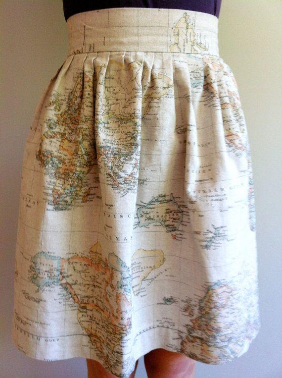 Vintage Print World Map Skirt Fashion Class Teacher Outfits