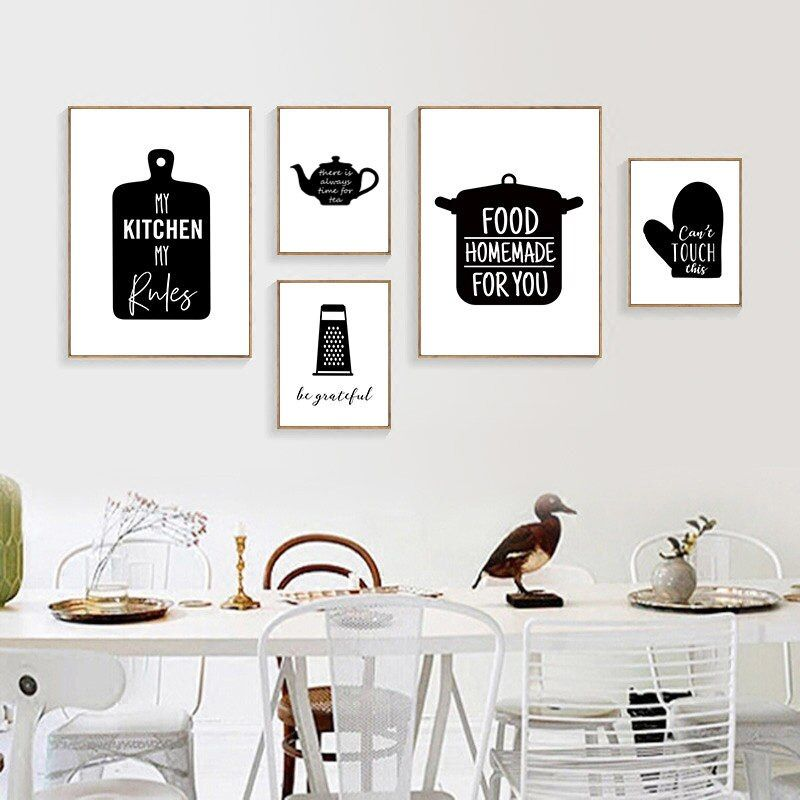 Black And White Kitchen Decor Wine Letters Canvas Painting Wall Art Pop Poster Print Pictures For Dining Room Home Prints