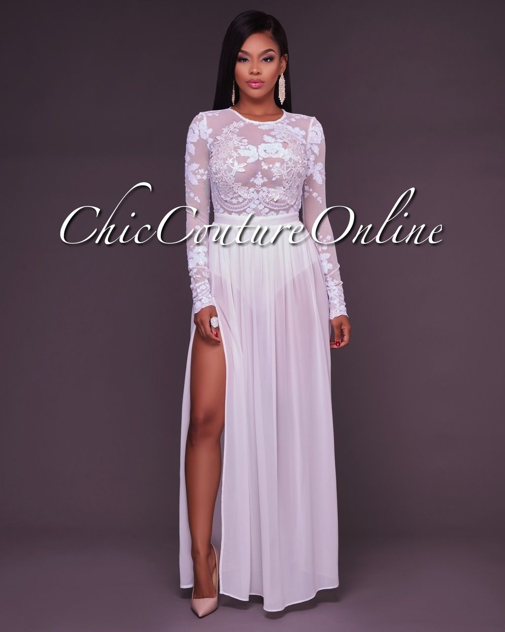 c7c32579ad00 Chic Couture Online - Sabina White Sheer Sequined Top Bodysuit Maxi Dress