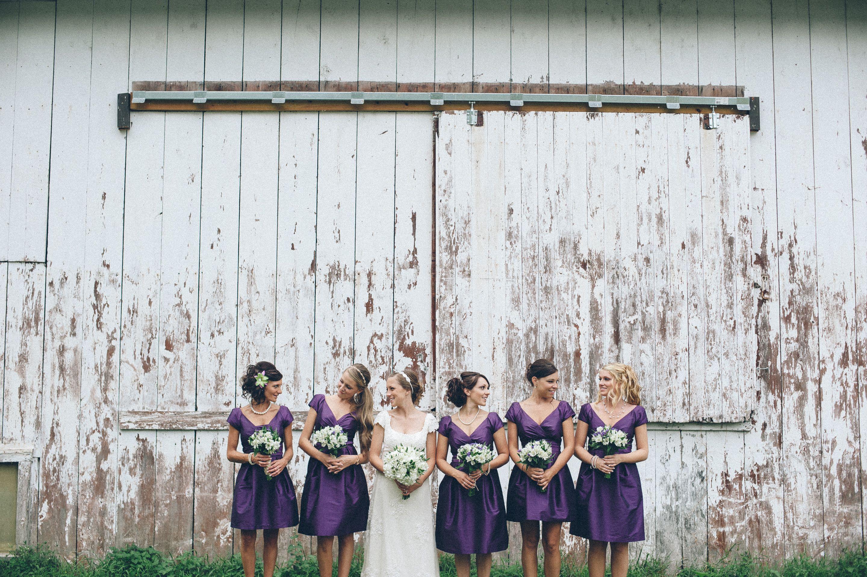 Vintage Barn Wedding Bridesmaids Purple Dresses