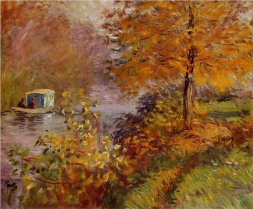 Claude Monet- The Studio Boat- Monet's Autumn   Paint Watercolor Create http://paintwatercolorcreate.blogspot.com/2013/09/monets-autumn.html