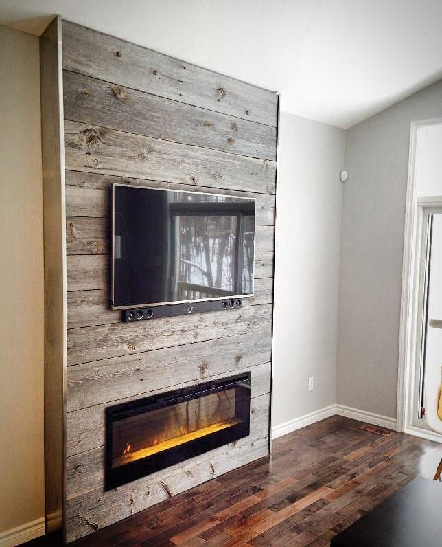 Rustic And Modern Fireplace: Reclaimed Grey Barn Board Feature Wall By One Of Our