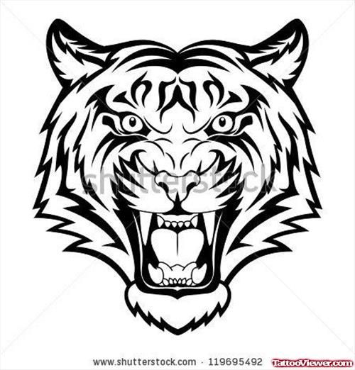 Tribal Angry Tiger Head Tattoo Design Art Is Cool Tattoos Tiger