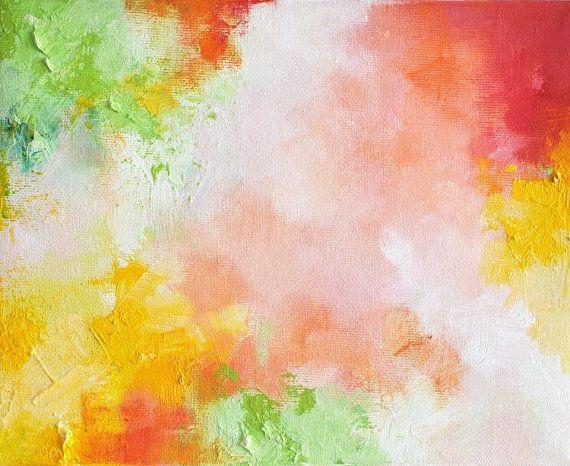 Spring 2 original abstract modern painting 8x10 by Natureandart, $85.00