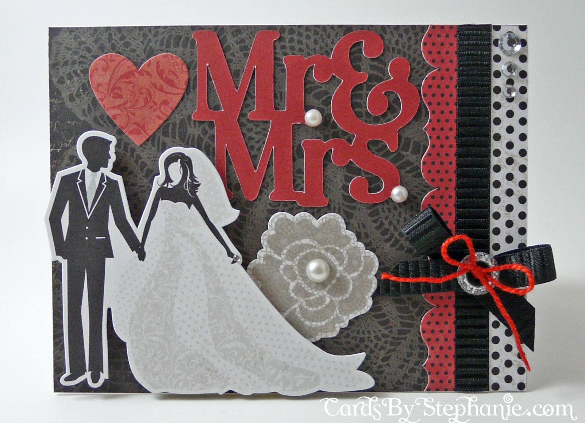 Mr. and Mrs. Black, White and Red Wedding Card made with \