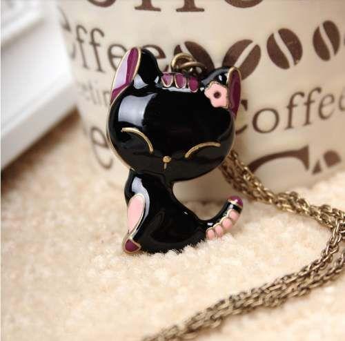 d0590a7ba9cc Collar Gato Negro Y Elefantes.importado! -   85