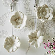 Hanging Porcelain Flowers - Set of 4
