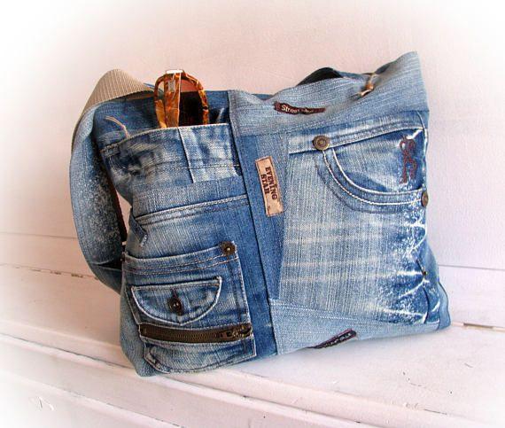 Denim bag Jeans bag Bag Patchwork bag Handmade bag Recycled