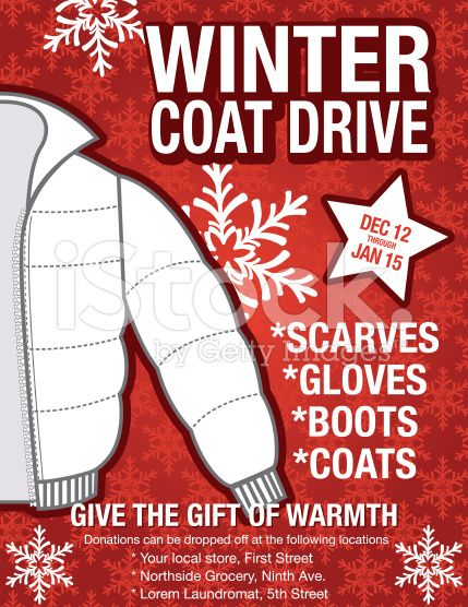 Winter Coat Drive Charity Poster Template Assortment Of Coats On A