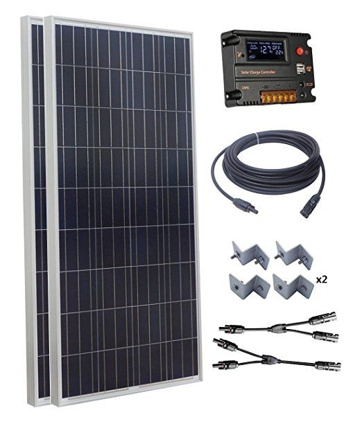 Eco Worthy 300w Polycrystalline Solar Starter Kit 2pcs 160w Poly Solar Panels 20a Auto Switch Lcd Intelligent Charge Co Solar Panels Solar Energy Panels Solar