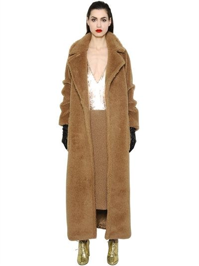 CAMEL & SILK BLEND COAT … | Outerwear | Fur c…