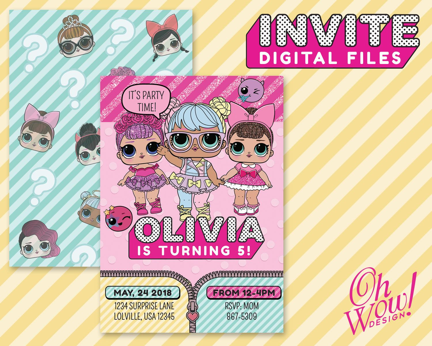 Lol Surprise Doll Inspired Birthday Party Invitation Digital File Lol Surp Surprise Birthday Invitations Birthday Party Invitations Surprise Party Decorations
