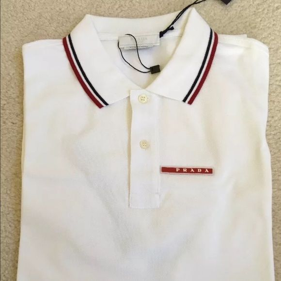 PRADA MEN'S BIANCO WHITE STRIPE POLO SHIRT XL | Striped polo shirt ...