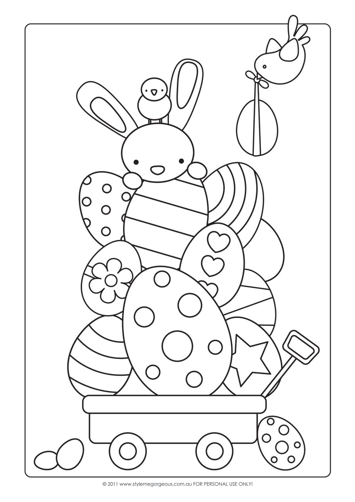 Cute kawaii digi art for easter to print out to keep kids amused at the dinner