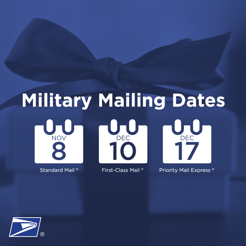 It's that time of year again! To ensure delivery of cards and packages to your loved ones overseas, mail by the following dates.