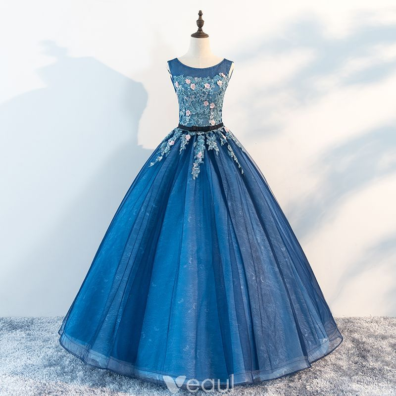 583edfd00e3 Chic   Beautiful Ocean Blue Prom Dresses 2018 Ball Gown Scoop Neck  Sleeveless Appliques Flower Beading Pearl Sash Floor-Length   Long Ruffle Formal  Dresses
