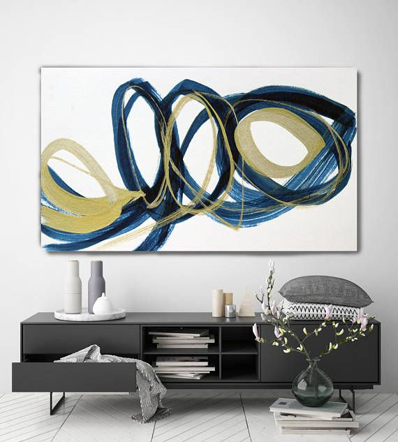 Deep Blue And Gold Circles Modern Wall Art Abstract Gold Etsy Abstract Art Painting Contemporary Art Canvas Abstract Canvas