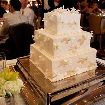 Square Wedding Cake with White Orchids   Square wedding cakes     Brides  Square Wedding Cake with White Orchids  Monochromatic Look
