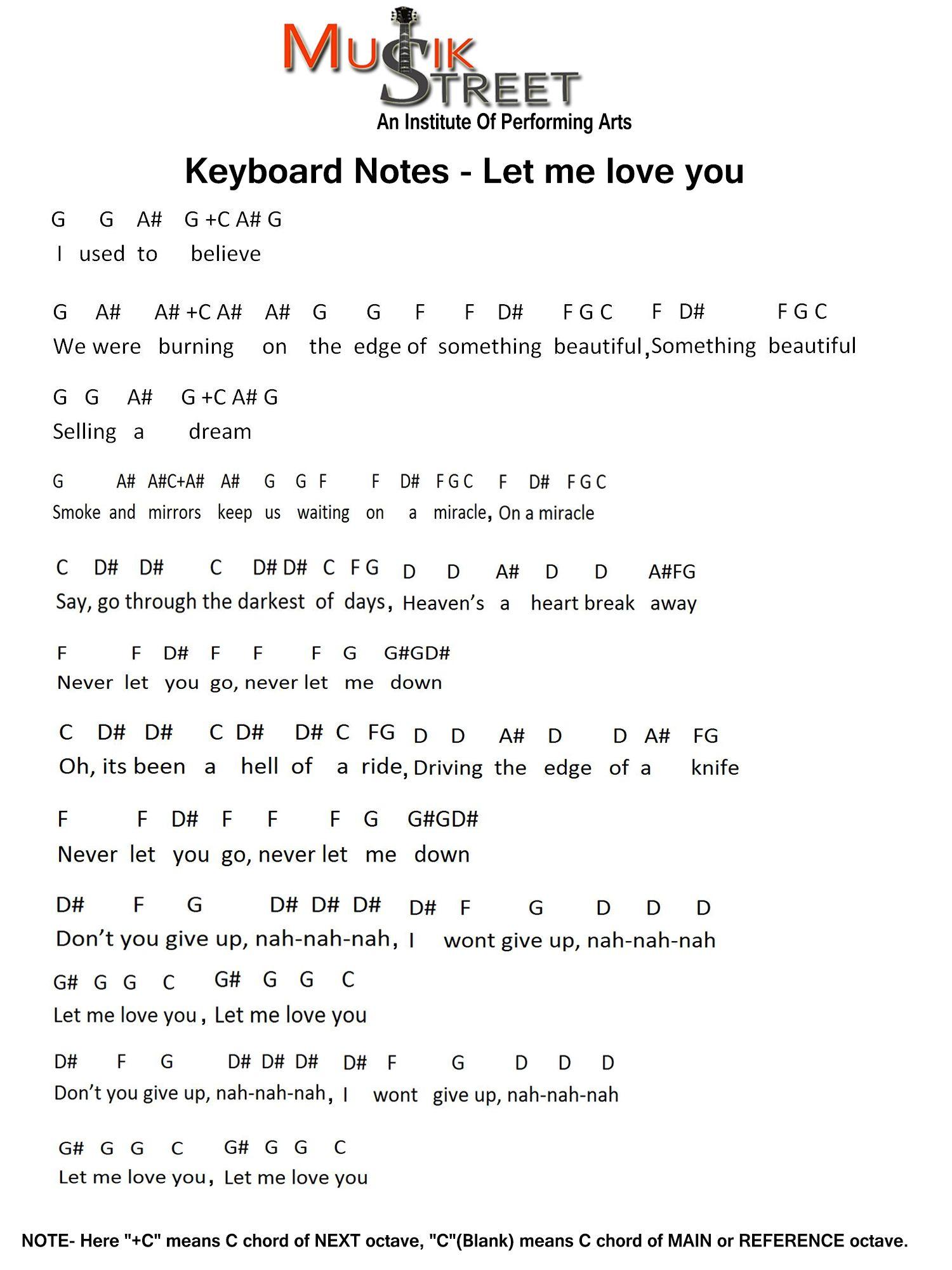 keyboard/Piano notation of song