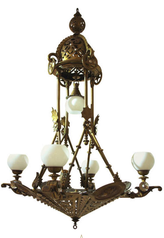 Lustre allégorique avec 4 médailles sculptées  Bronze patiné travail Espagnol Vers 1910-1920 - H 145 cm D 97 cm - Galerie Lumières GL0076