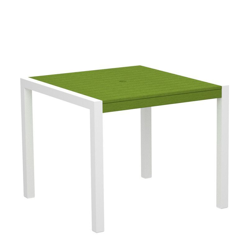 "Polywood 8100-10LI MOD 36"" Dining Table in Gloss White Aluminum Frame / Lime"