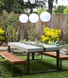 Gartentisch Beton Metall selber bauen | Gartentisch