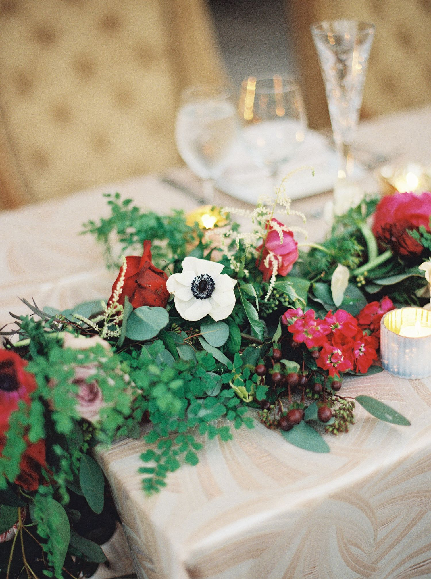 Lush garlands can be centerpieces but they can also be wrapped