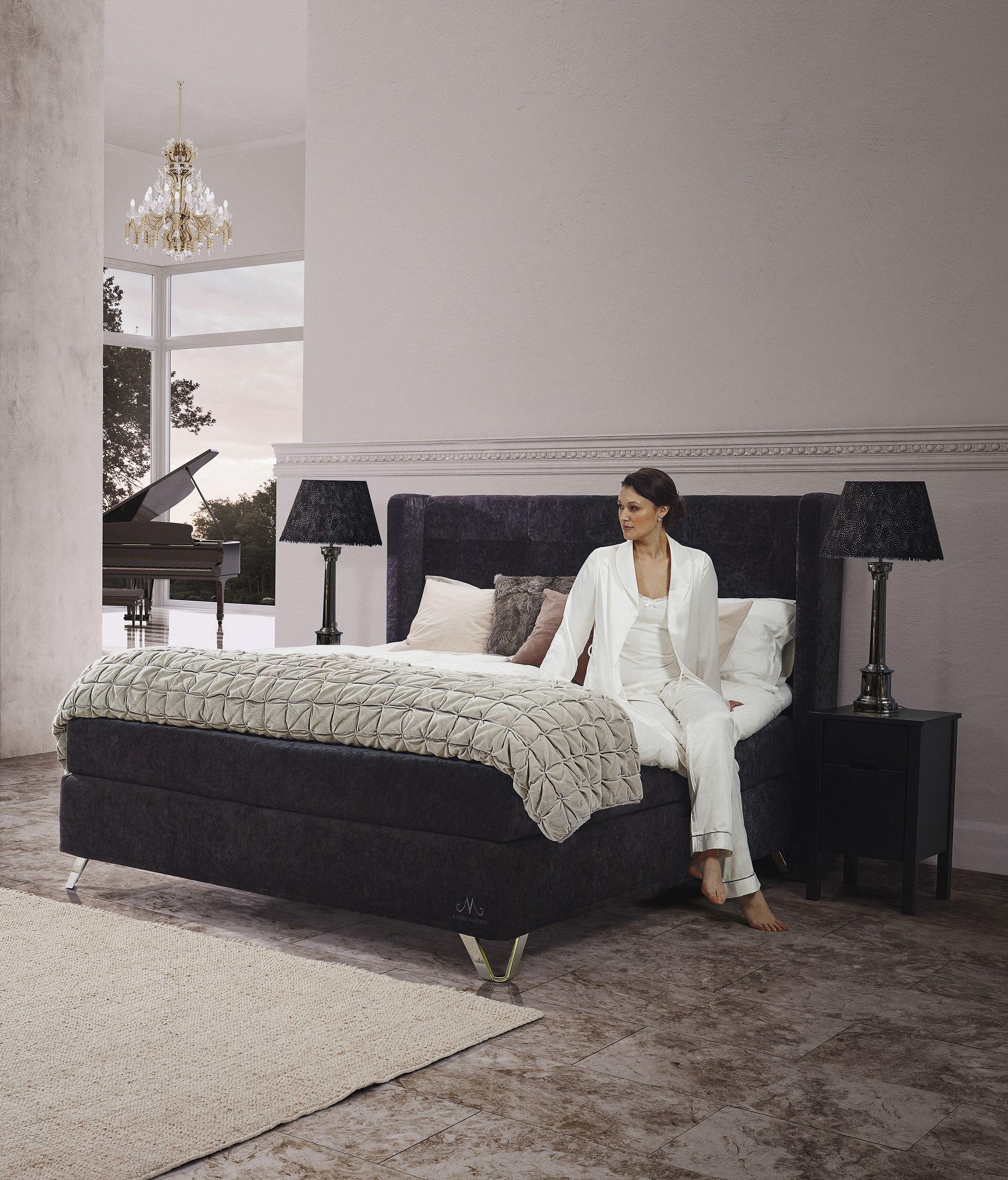 Jensen Majestic Continental Bed In Grey Luxurious Velvet Textiles