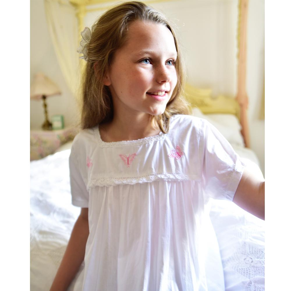 A beautiful pure white cotton short sleeve girls cotton nightdress square  neck with pretty pink Butterflies 238a0604b