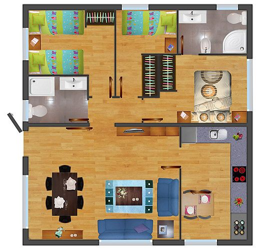 planos de casas 8 x 7