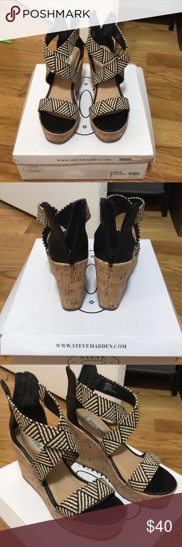 838af4aa9ef Steve Madden Elwyn Wedge Sandal - Size 7 Steve Madden Elwyn Sandal Size 7!  Black