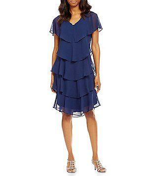 f5b2e656c5f S.L. Fashions Georgette Tiered Capelet Dress - Dillard s