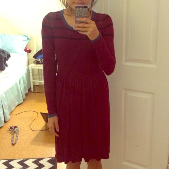 REDUCED! Burgundy sweater dress Long sleeve burgundy sweater dress with stripe details and a pop of teal around the wrists and collar. Super compfy but I am way too short for it and it is too big for me lol. Received as a gift. Hang tag is still attached. Matty M Dresses Long Sleeve