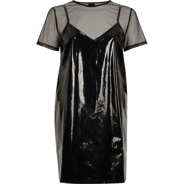 River Island Black Vinyl And Mesh T Shirt Dress 70 Liked On