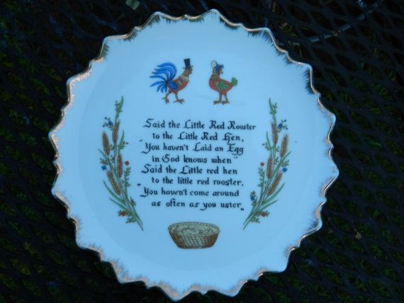 Cute Red Rooster Red Hen decorative plate by QuirkyCrowsVintage, $18.00