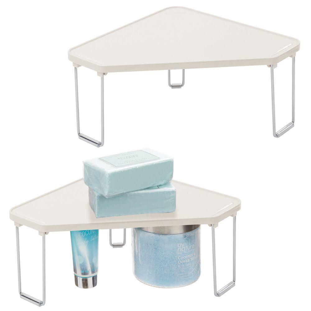 mDesign Corner Plastic/Metal Freestanding Stackable Organizer Shelf for Bathroom Vanity Countertop or Cabinet for Storing Cosmetics, Toiletries, Facial Wipes, Tissues STACKABLE STORAGE: Corner storage shelf organizes small and crowded bathroom areas; Corn